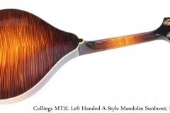Collings MT2L Left Handed A-Style Mandolin Sunburst, 2012 Full Rear View