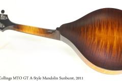 Collings MTO GT A Style Mandolin Sunburst, 2011 Full Rear View