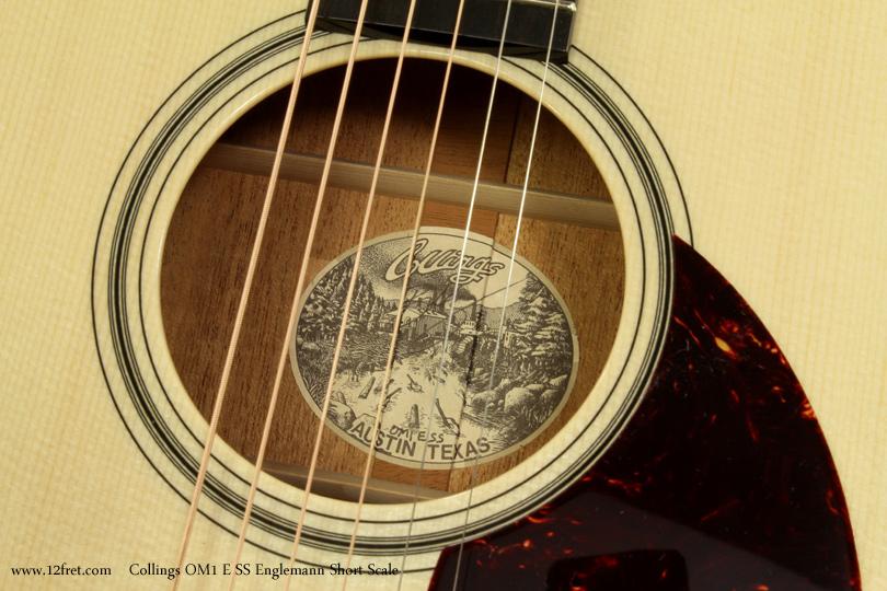 Collings OM1 E SS Englemann Short Scale Acoustic label