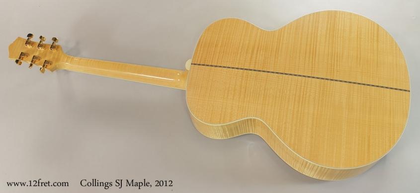 Collings SJ Maple, 2012 Full Rear View