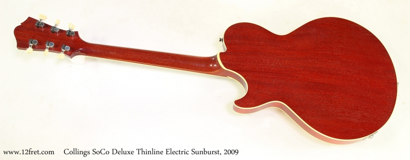 Collings SoCo Deluxe Thinline Electric Sunburst, 2009   Full Rear View