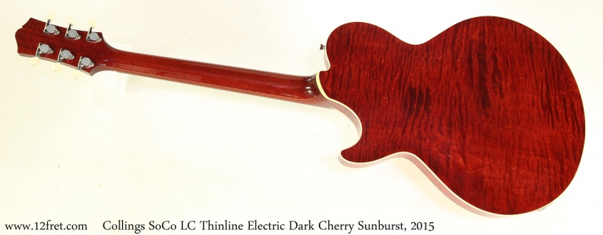 Collings SoCo LC Thinline Electric Dark Cherry Sunburst, 2015 Full Rear View