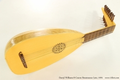 Darryl Williams 8-Course Renaissance Lute, 1976  Full Side View