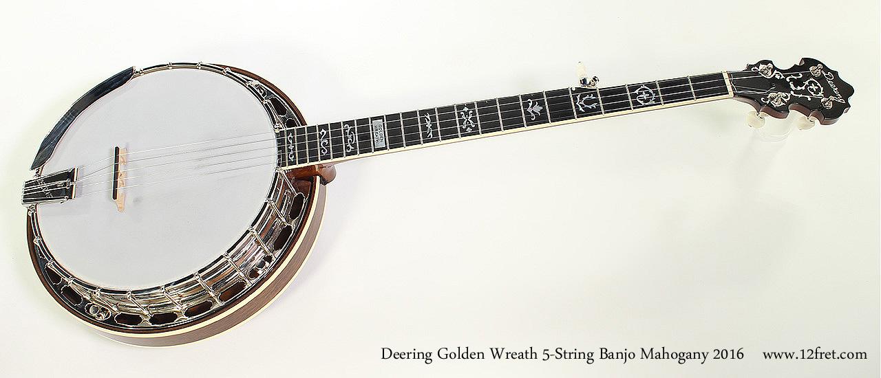 Deering Golden Wreath 5-String Banjo Mahogany 2016 Full Front View