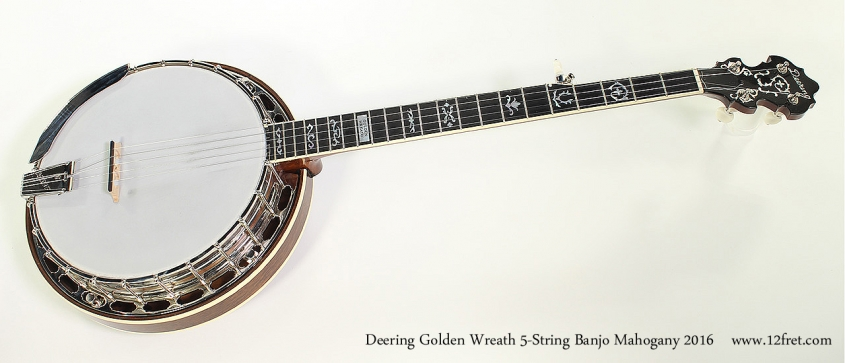 Deering Golden Wreath 5-String Banjo Mahogany 2016 Full Front View