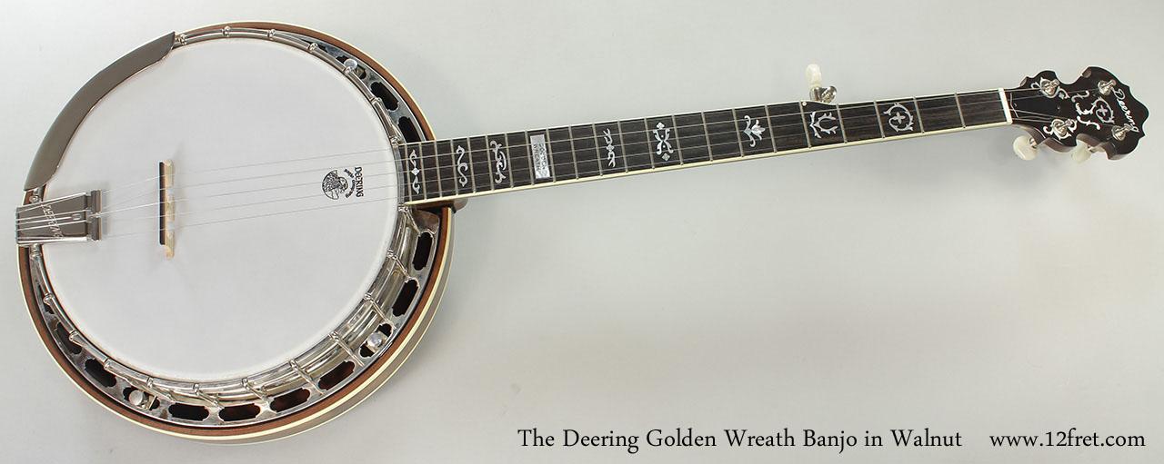 The Deering Golden Wreath Banjo in Walnut Full Front View