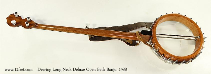 Deering Long Neck Deluxe Open Back Banjo, 1988 Full Rear View