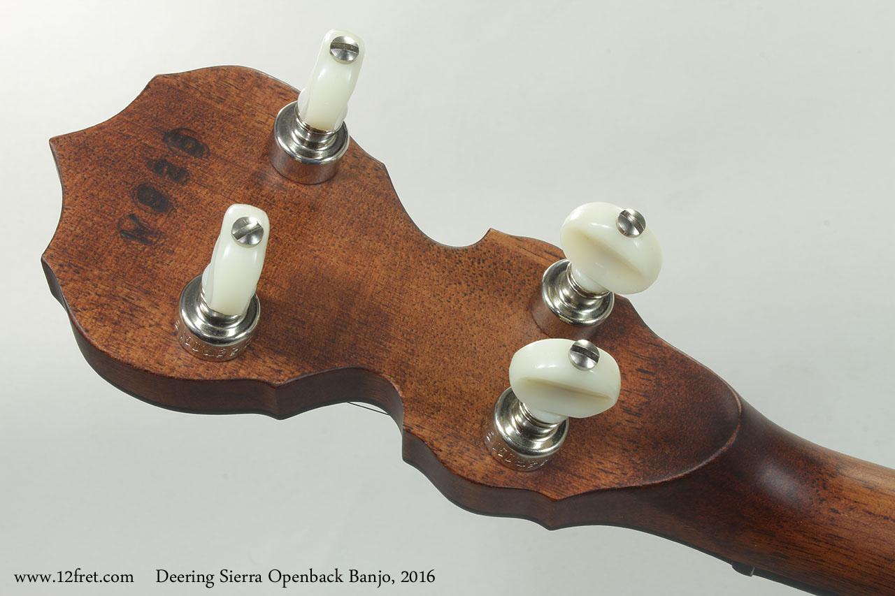 Deering Sierra Openback Banjo, 2016 Head Rear View