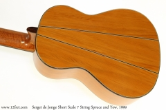 Sergei de Jonge Short Scale 7 String Spruce and Yew, 1999 Back View