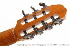 Sergei de Jonge Short Scale 7 String Spruce and Yew, 1999 Head Rear View