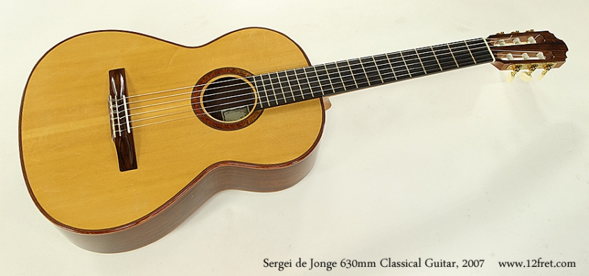 Sergei de Jonge 630mm Classical Guitar, 2007 Full Front View