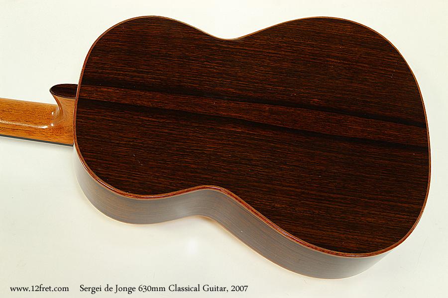 Sergei de Jonge 630mm Classical Guitar, 2007 Back View