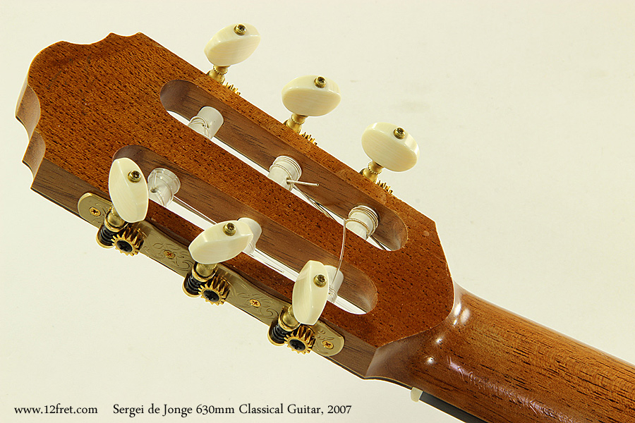 Sergei de Jonge 630mm Classical Guitar, 2007 Head Rear View