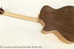 DK Concertino Steel String Guitar Black Walnut, 2017  Full Rear View
