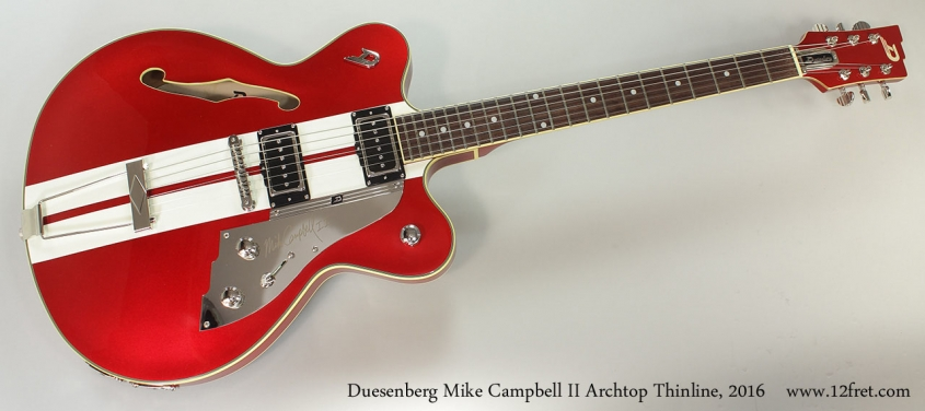 Duesenberg Mike Campbell II Archtop Thinline, 2016 Full Front View