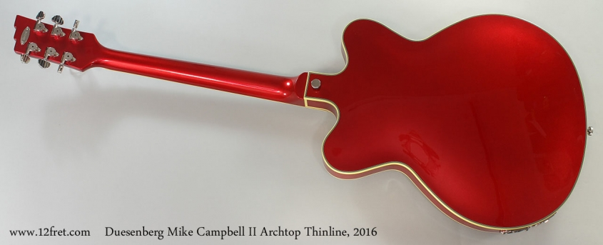 Duesenberg Mike Campbell II Archtop Thinline, 2016 Full Rear View