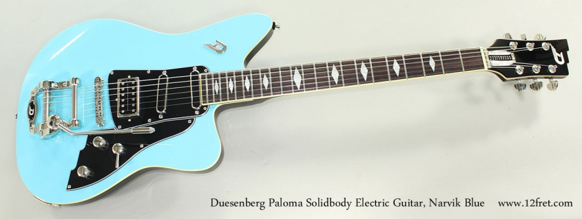 Duesenberg Paloma Solidbody Electric Guitar, Narvik Blue Full Front View