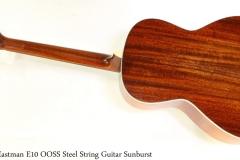 Eastman E10 OOSS Steel String Guitar Sunburst Full Rear View
