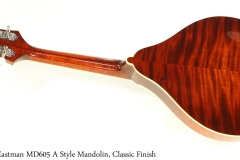 Eastman MD605 A Style Mandolin, Classic Finish Full Rear View
