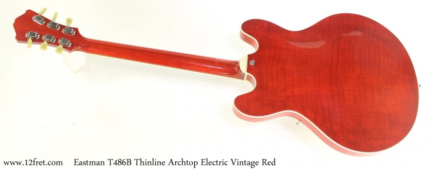 Eastman T486B Thinline Archtop Electric Vintage Red Full Rear View