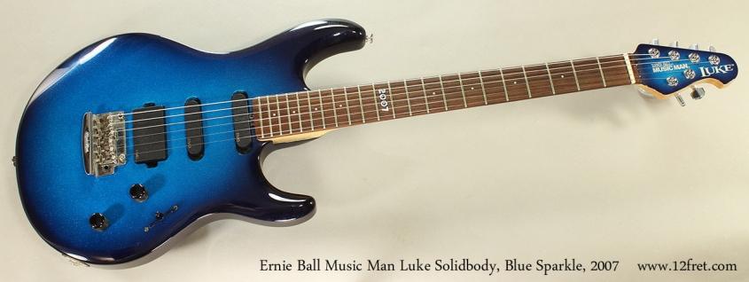 Ernie Ball Music Man Luke Solidbody, Blue Sparkle, 2007 Full Front VIew