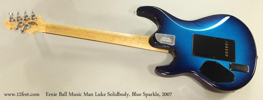 Ernie Ball Music Man Luke Solidbody, Blue Sparkle, 2007 Full Rear View