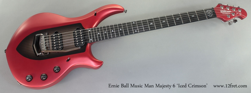 Ernie Ball Music Man Majesty 6 Iced Crimson full front view