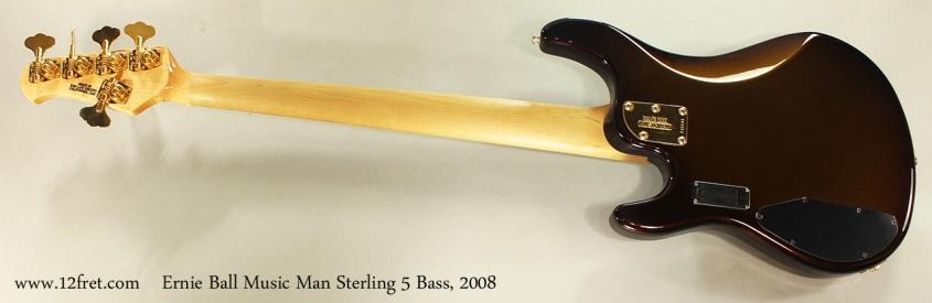 Ernie Ball Music Man Sterling 5 Bass, 2008 Full Rear View