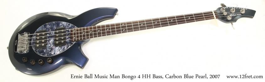 Ernie Ball Music Man Bongo 4 HH Bass, Carbon Blue Pearl, 2007 Full Front View