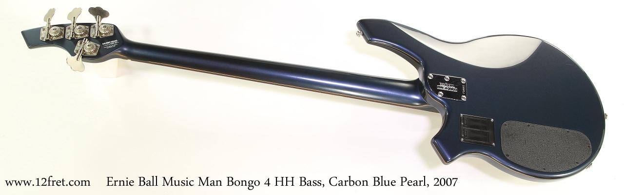 Ernie Ball Music Man Bongo 4 HH Bass, Carbon Blue Pearl, 2007 Full Rear View
