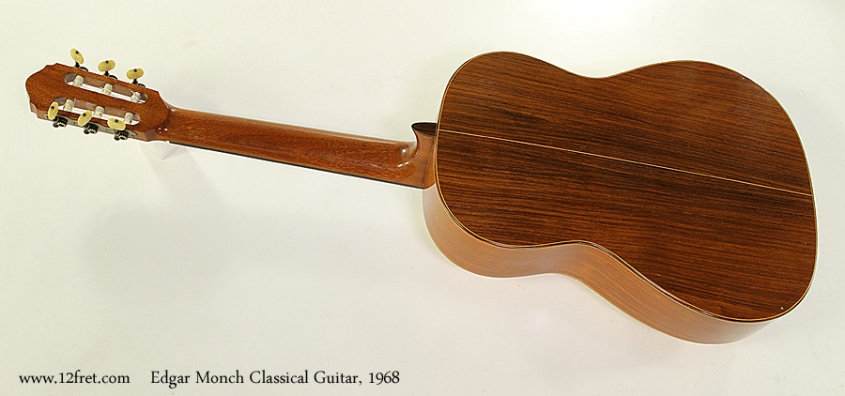 Edgar Monch Classical Guitar, 1968 Full Rear View