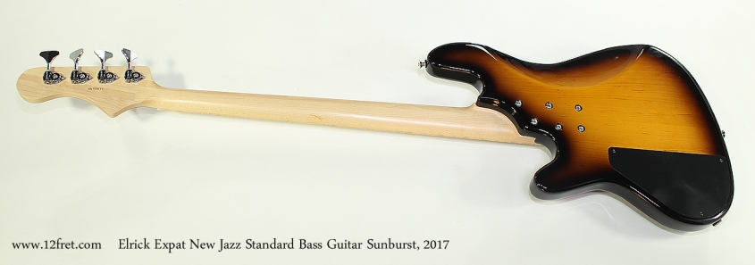 Elrick Expat New Jazz Standard Bass Guitar Sunburst, 2017 Full Rear View
