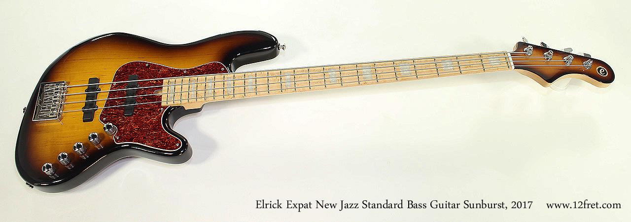 Elrick Expat New Jazz Standard Bass Guitar Sunburst, 2017 Full Front View