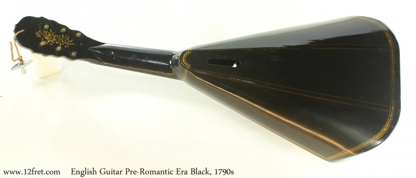 English Guitar Pre-Romantic Era Black, 1790s Full Rear View