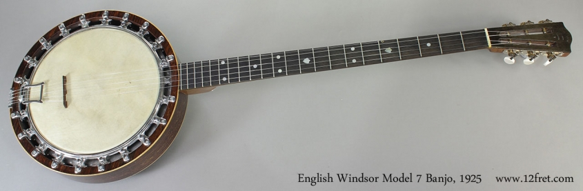 English Windsor Model 7 Banjo, 1925 Full Front View
