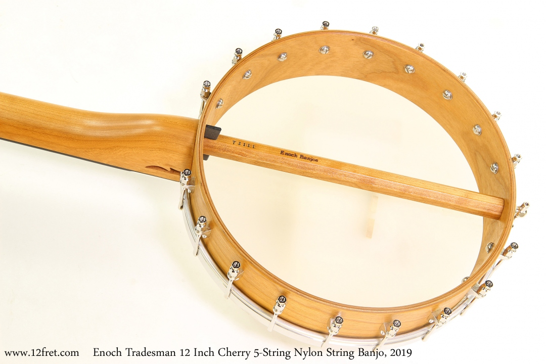 Enoch Tradesman 12 Inch Cherry 5-String Nylon String Banjo, 2019 Back View