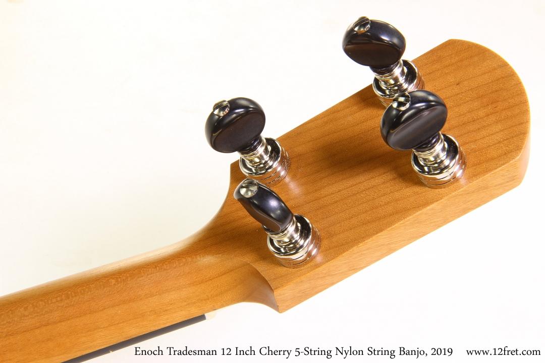 Enoch Tradesman 12 Inch Cherry 5-String Nylon String Banjo, 2019 Head Rear View