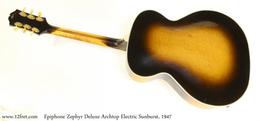 Epiphone Zephyr Deluxe Archtop Electric Sunburst, 1947 Full Rear View
