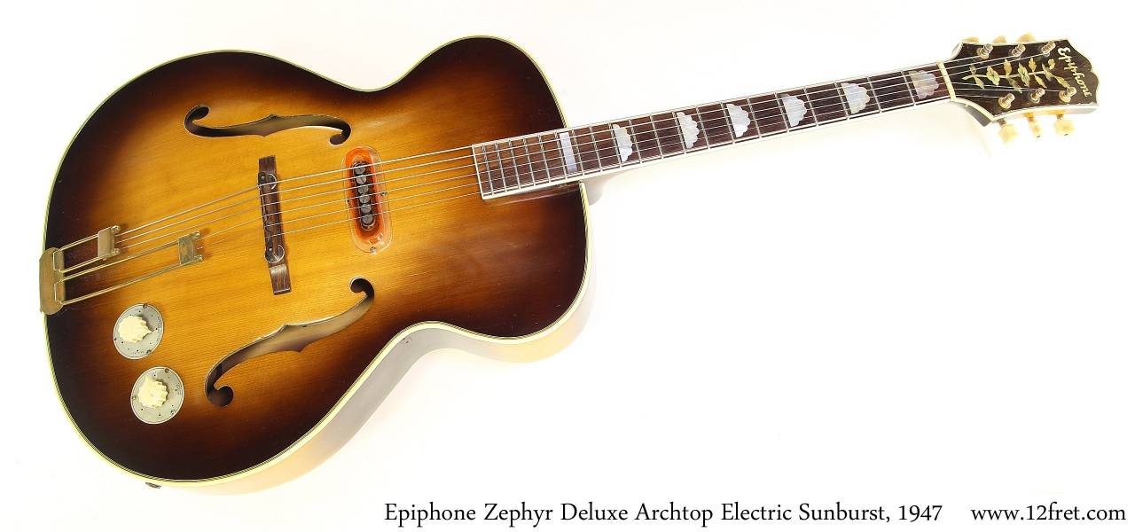 Epiphone Zephyr Deluxe Archtop Electric Sunburst, 1947 Full Front View