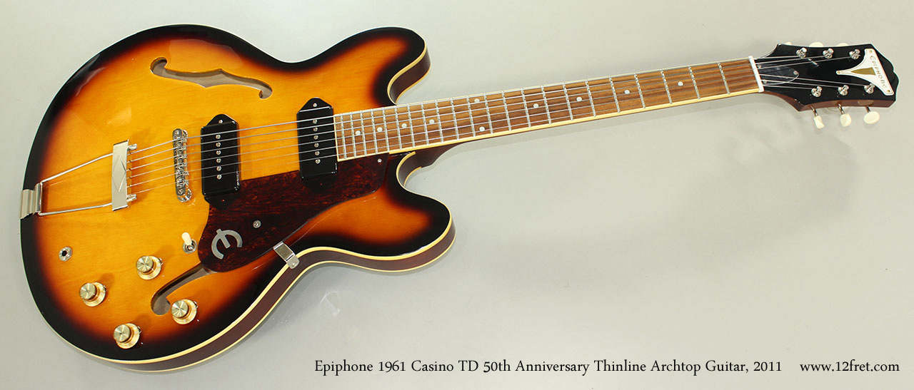 Epiphone 1961 Casino TD 50th Anniversary Thinline Archtop Guitar, 2011 Full Front View