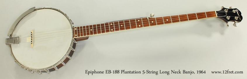 Epiphone EB-188 Plantation 5-String Long Neck Banjo, 1964 Full Front View