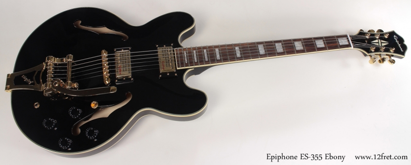 Epiphone ES-355 Ebony full front view