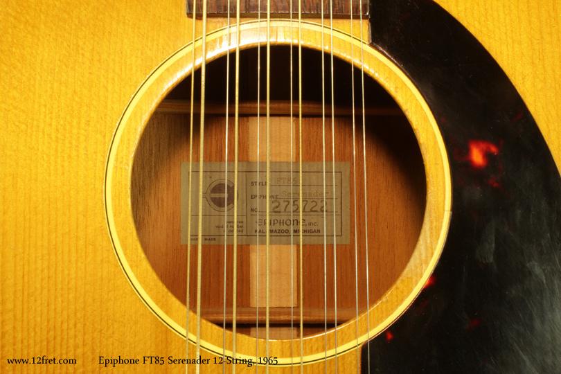 Epiphone F585 Serenader 12-String 1965 label