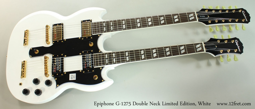 Epiphone G-1275 Double Neck Limited Edition, White Full Front View