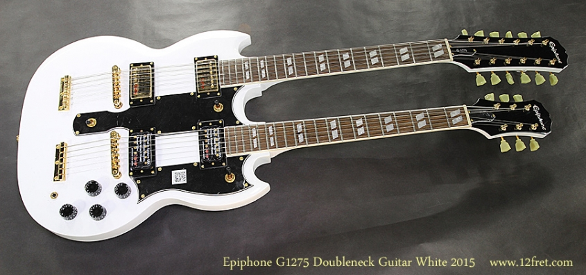Epiphone G1275 Doubleneck Guitar White 2015 Full Front View
