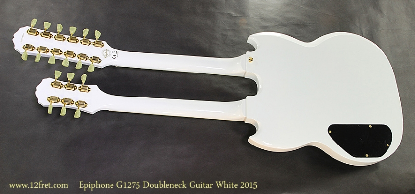 Epiphone G1275 Doubleneck Guitar White 2015 Full Rear View