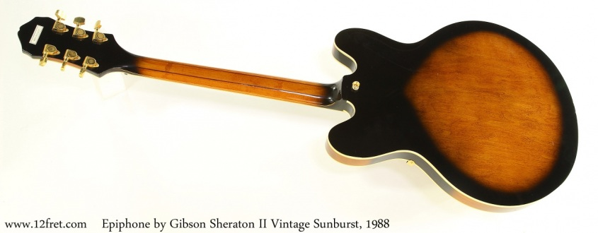 Epiphone by Gibson Sheraton II Vintage Sunburst, 1988 Full Rear View