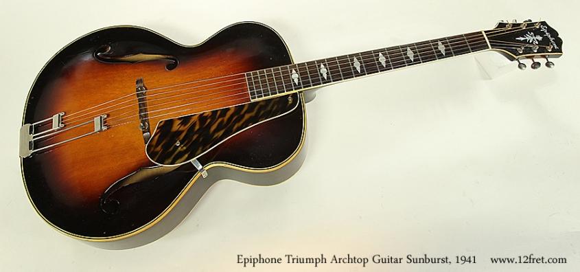 Epiphone Triumph Archtop Guitar Sunburst, 1941 Full Front View