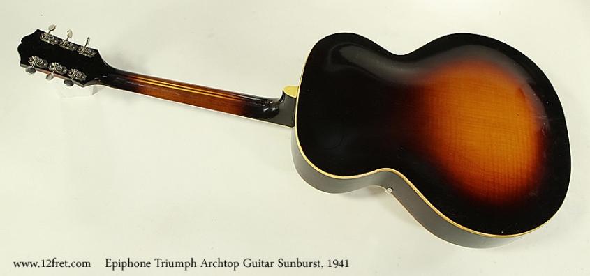Epiphone Triumph Archtop Guitar Sunburst, 1941 Full Rear View