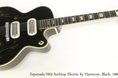 Espanada H63 Archtop Electric by Harmony, Black, 1960   Full Front View
